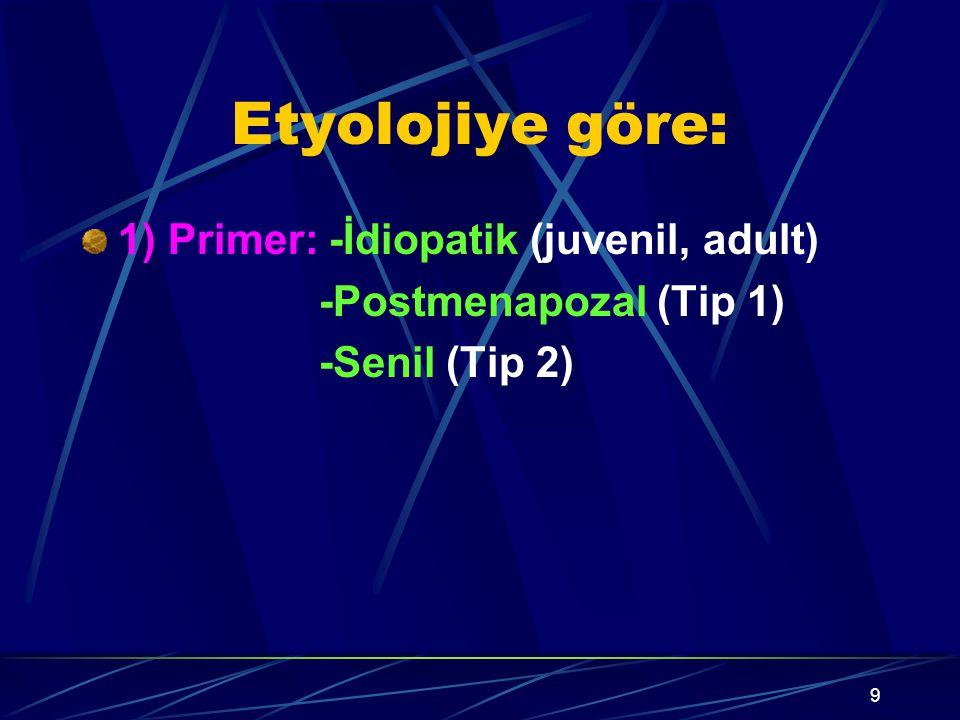 9 Etyolojiye göre: 1) Primer: -İdiopatik (juvenil, adult) -Postmenapozal (Tip 1) -Senil (Tip 2)