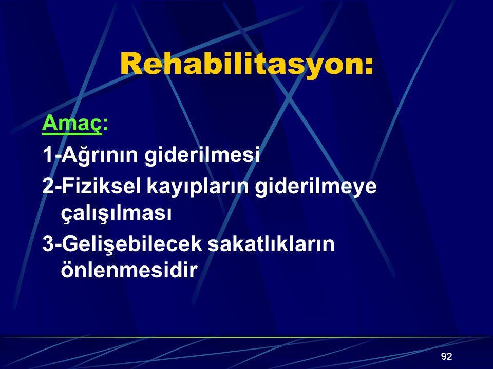 92 Rehabilitasyon: Amaç: 1-Ağrının giderilmesi 2-Fiziksel kayıpların giderilmeye çalışılması 3-Gelişebilecek sakatlıkların önlenmesidir