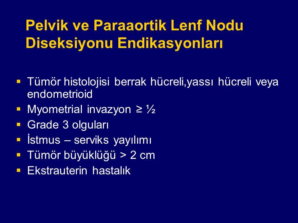 Pelvik ve Paraaortik Lenf Nodu Diseksiyonu Endikasyonları  Tümör histolojisi berrak hücreli,yassı hücreli veya endometrioid  Myometrial invazyon ≥ ½