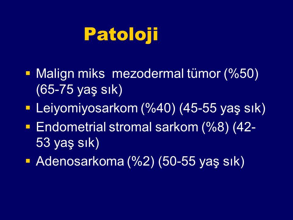 Patoloji  Malign miks mezodermal tümor (%50) (65-75 yaş sık)  Leiyomiyosarkom (%40) (45-55 yaş sık)  Endometrial stromal sarkom (%8) (42- 53 yaş sı