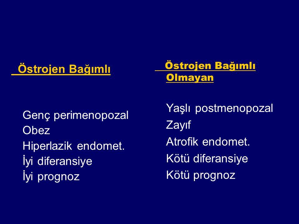Östrojen Bağımlı Genç perimenopozal Obez Hiperlazik endomet. İyi diferansiye İyi prognoz Östrojen Bağımlı Olmayan Yaşlı postmenopozal Zayıf Atrofik en