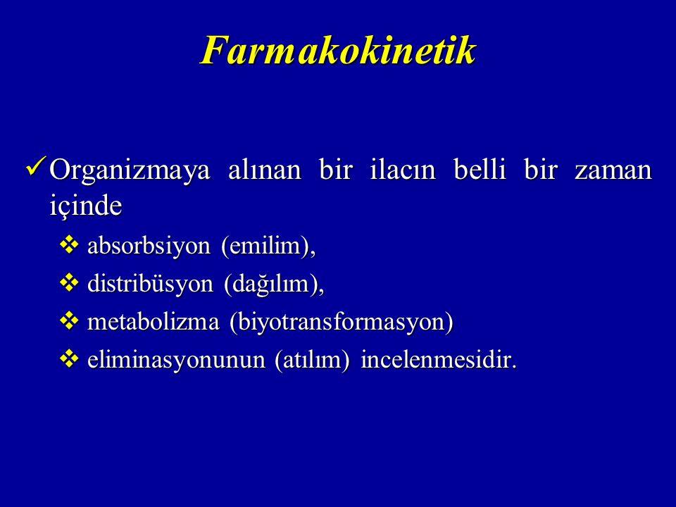 Farmakokinetik Organizmaya alınan bir ilacın belli bir zaman içinde Organizmaya alınan bir ilacın belli bir zaman içinde  absorbsiyon (emilim),  dis