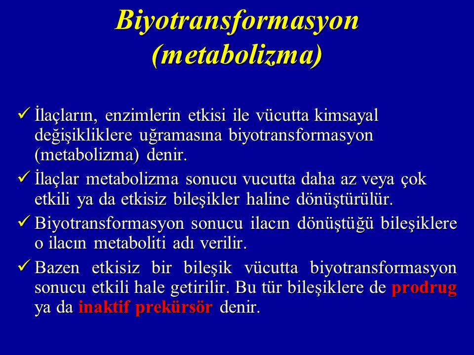 Biyotransformasyon (metabolizma) İlaçların, enzimlerin etkisi ile vücutta kimsayal değişikliklere uğramasına biyotransformasyon (metabolizma) denir. İ