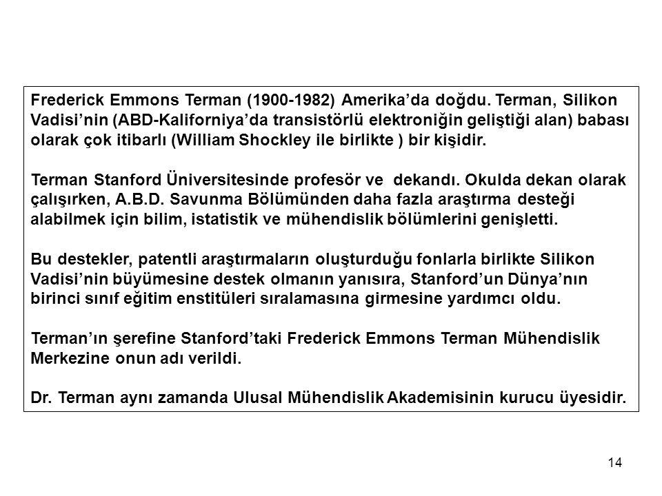 14 Frederick Emmons Terman (1900-1982) Amerika'da doğdu.