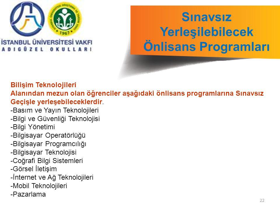 22 Sınavsız Yerleşilebilecek Önlisans Programları Bilişim Teknolojileri Alanından mezun olan öğrenciler aşağıdaki önlisans programlarına Sınavsız Geçişle yerleşebileceklerdir.
