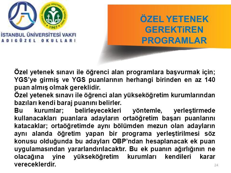 24 ÖZEL YETENEK GEREKTiREN PROGRAMLAR ILI Özel yetenek sınavı ile öğrenci alan programlara başvurmak için; YGS'ye girmiş ve YGS puanlarının herhangi b
