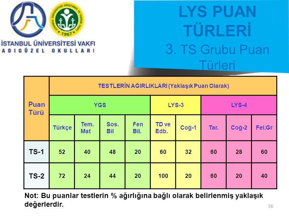56 LYS PUAN TÜRLERİ 3.
