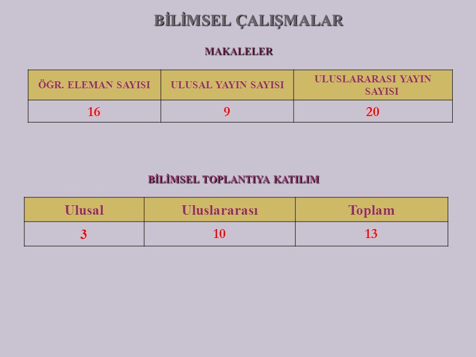 ÖĞR. ELEMAN SAYISIULUSAL YAYIN SAYISI ULUSLARARASI YAYIN SAYISI 16920 BİLİMSEL TOPLANTIYA KATILIM UlusalUluslararasıToplam 3 1013 BİLİMSEL ÇALIŞMALAR