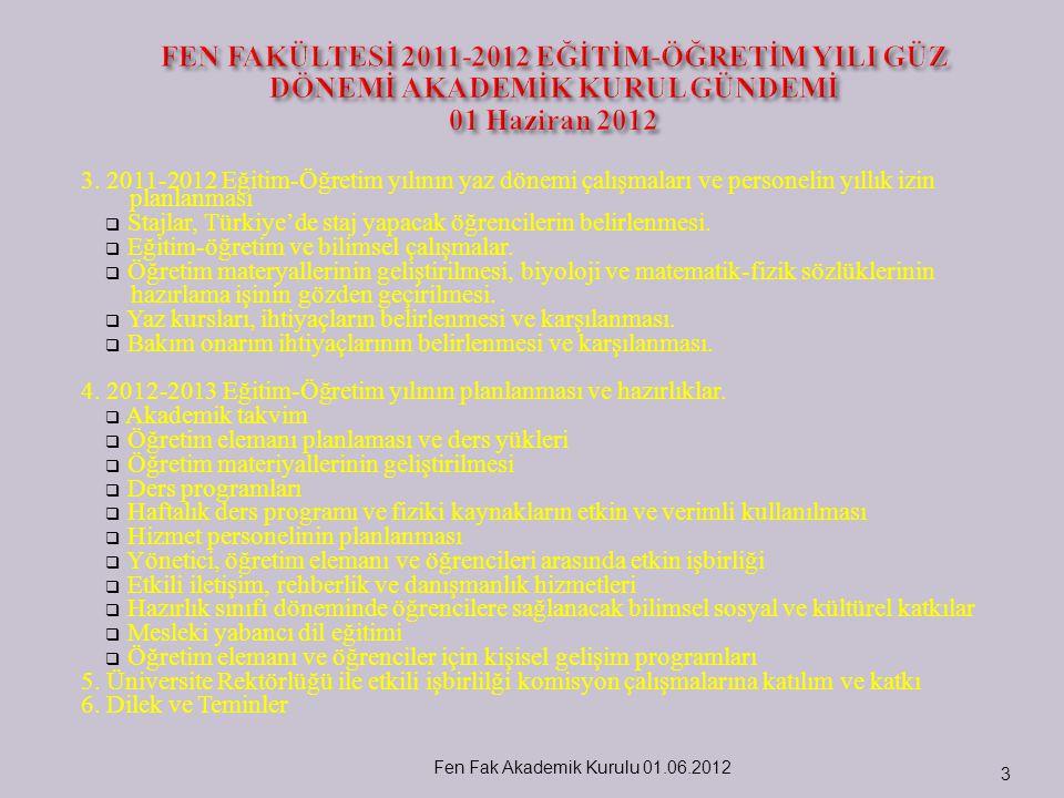 3. 2011-2012 Eğitim-Öğretim yılının yaz dönemi çalışmaları ve personelin yıllık izin planlanması  Stajlar, Türkiye'de staj yapacak öğrencilerin belir