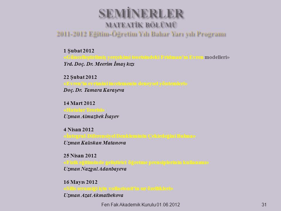 31 1 Şubat 2012 «Güncelleştirilmiş yerçekimi teorisindeki Fridman'ın Evren modelleri» Yrd. Doç. Dr. Meerim İmaş kızı 22 Şubat 2012 «Evren'in evrimini