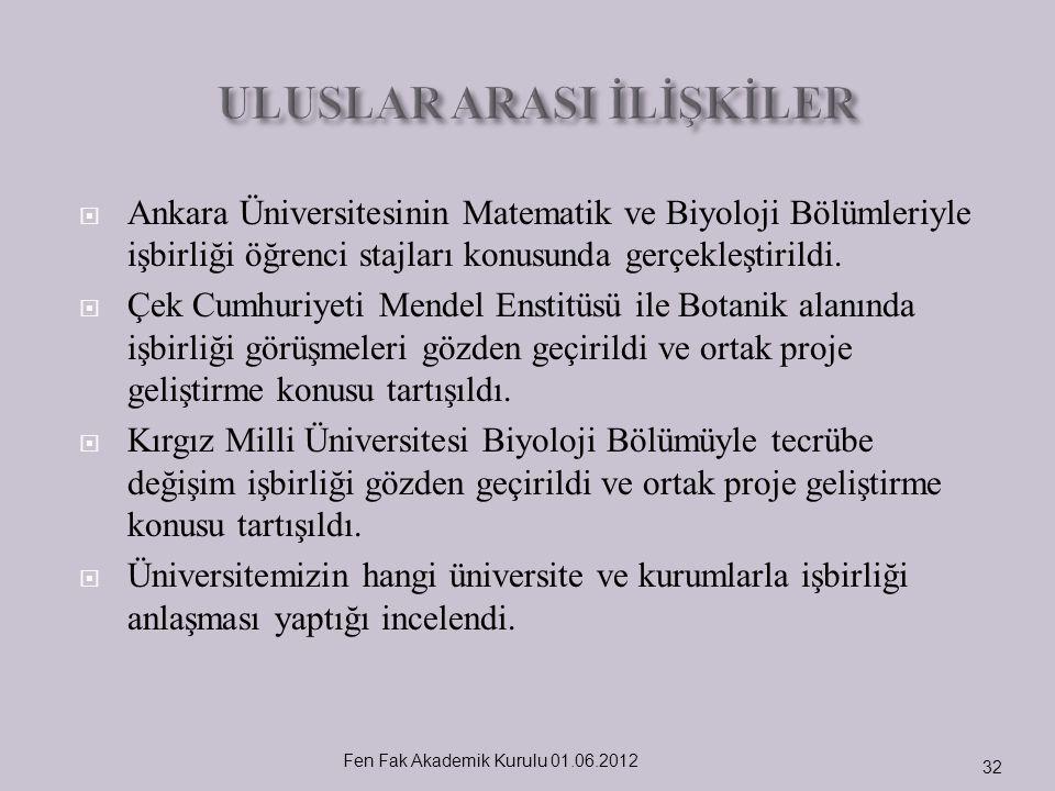  Ankara Üniversitesinin Matematik ve Biyoloji Bölümleriyle işbirliği öğrenci stajları konusunda gerçekleştirildi.  Çek Cumhuriyeti Mendel Enstitüsü