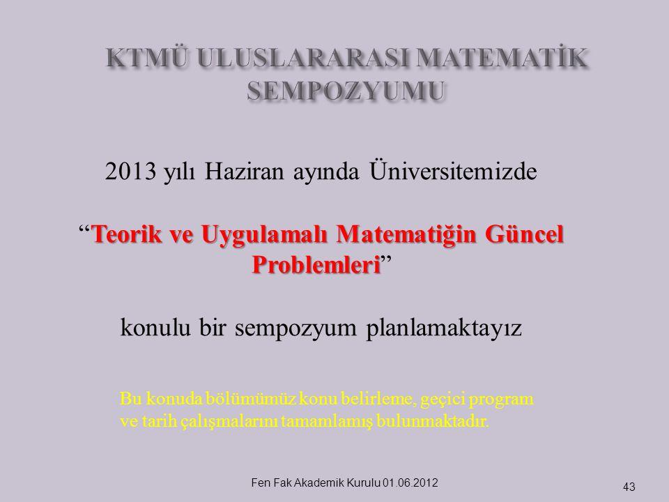 """Fen Fak Akademik Kurulu 01.06.2012 43 2013 yılı Haziran ayında Üniversitemizde Teorik ve Uygulamalı Matematiğin Güncel Problemleri """"Teorik ve Uygulama"""