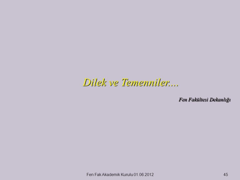 Dilek ve Temenniler.... Fen Fakültesi Dekanlığı Fen Fak Akademik Kurulu 01.06.201245