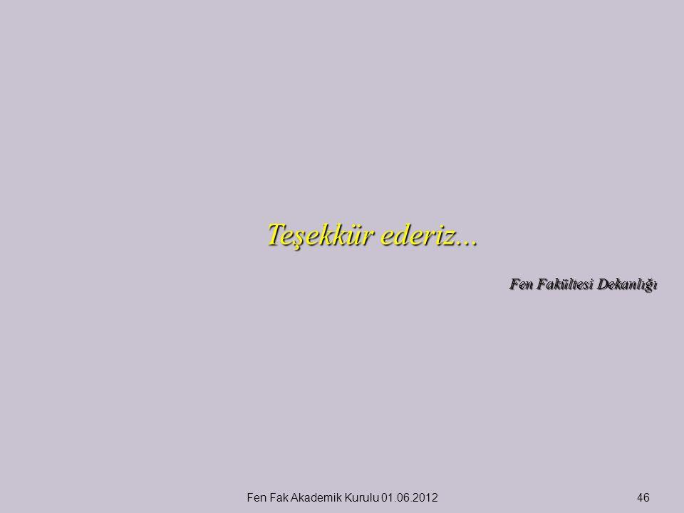 Teşekkür ederiz... Fen Fakültesi Dekanlığı Fen Fak Akademik Kurulu 01.06.201246