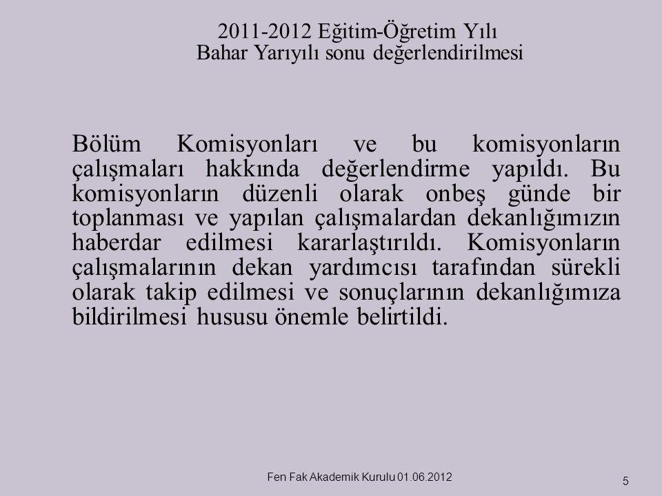 Fen Fak Akademik Kurulu 01.06.2012 5 Bölüm Komisyonları ve bu komisyonların çalışmaları hakkında değerlendirme yapıldı. Bu komisyonların düzenli olara