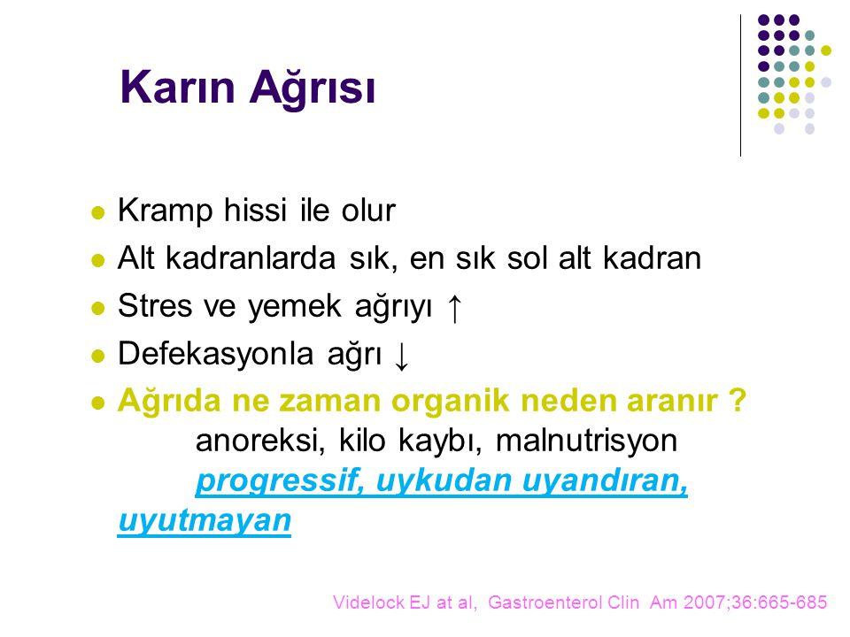 Karın Ağrısı Kramp hissi ile olur Alt kadranlarda sık, en sık sol alt kadran Stres ve yemek ağrıyı ↑ Defekasyonla ağrı ↓ Ağrıda ne zaman organik neden aranır .