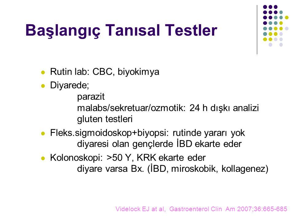 Başlangıç Tanısal Testler Rutin lab: CBC, biyokimya Diyarede; parazit malabs/sekretuar/ozmotik: 24 h dışkı analizi gluten testleri Fleks.sigmoidoskop+biyopsi: rutinde yararı yok diyaresi olan gençlerde İBD ekarte eder Kolonoskopi: >50 Y, KRK ekarte eder diyare varsa Bx.