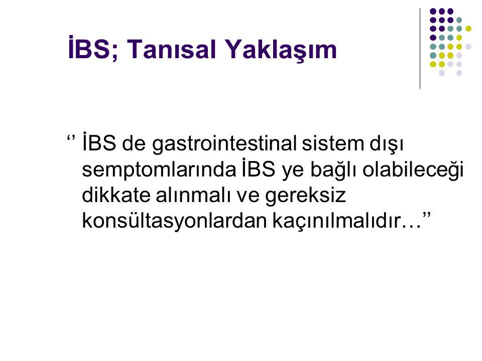 İBS; Tanısal Yaklaşım '' İBS de gastrointestinal sistem dışı semptomlarında İBS ye bağlı olabileceği dikkate alınmalı ve gereksiz konsültasyonlardan kaçınılmalıdır…''