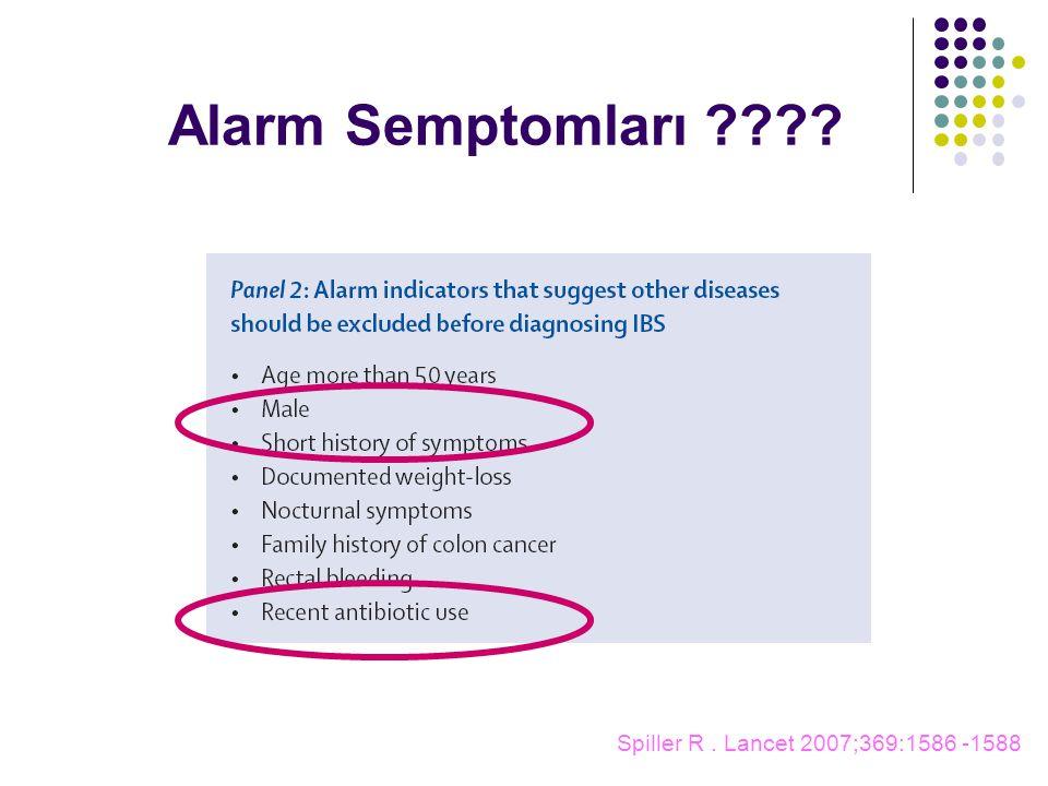 Spiller R. Lancet 2007;369:1586 -1588 Alarm Semptomları ????