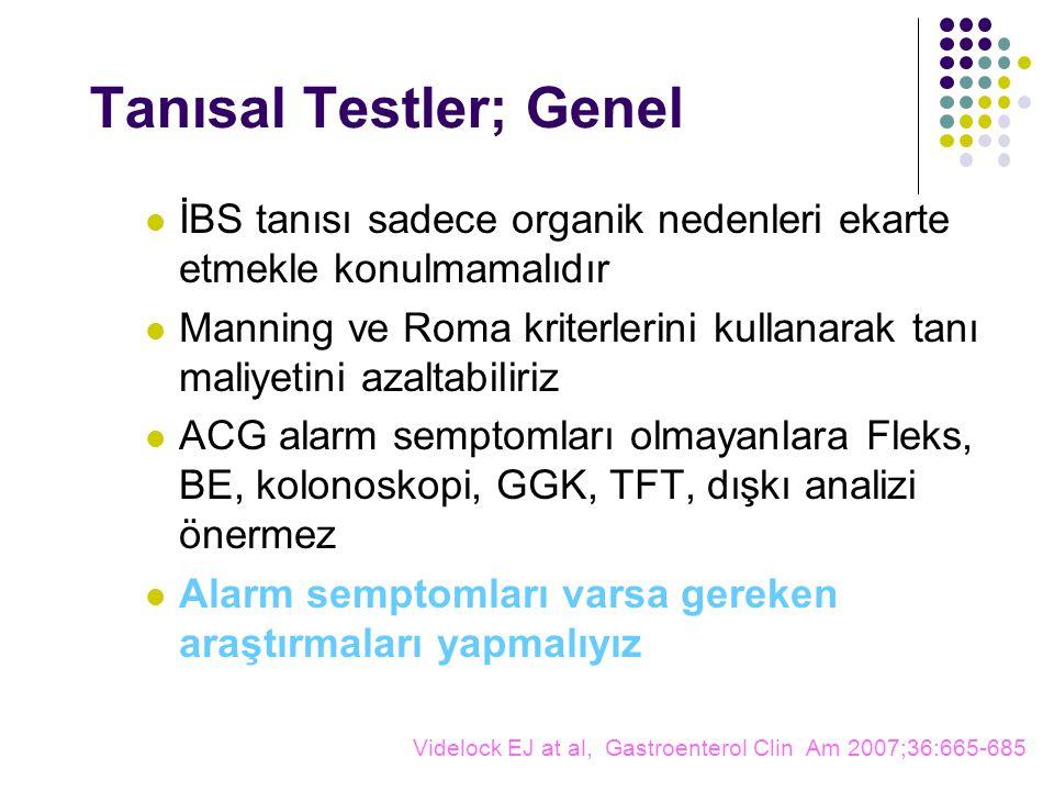 Tanısal Testler; Genel İBS tanısı sadece organik nedenleri ekarte etmekle konulmamalıdır Manning ve Roma kriterlerini kullanarak tanı maliyetini azaltabiliriz ACG alarm semptomları olmayanlara Fleks, BE, kolonoskopi, GGK, TFT, dışkı analizi önermez Alarm semptomları varsa gereken araştırmaları yapmalıyız Videlock EJ at al, Gastroenterol Clin Am 2007;36:665-685