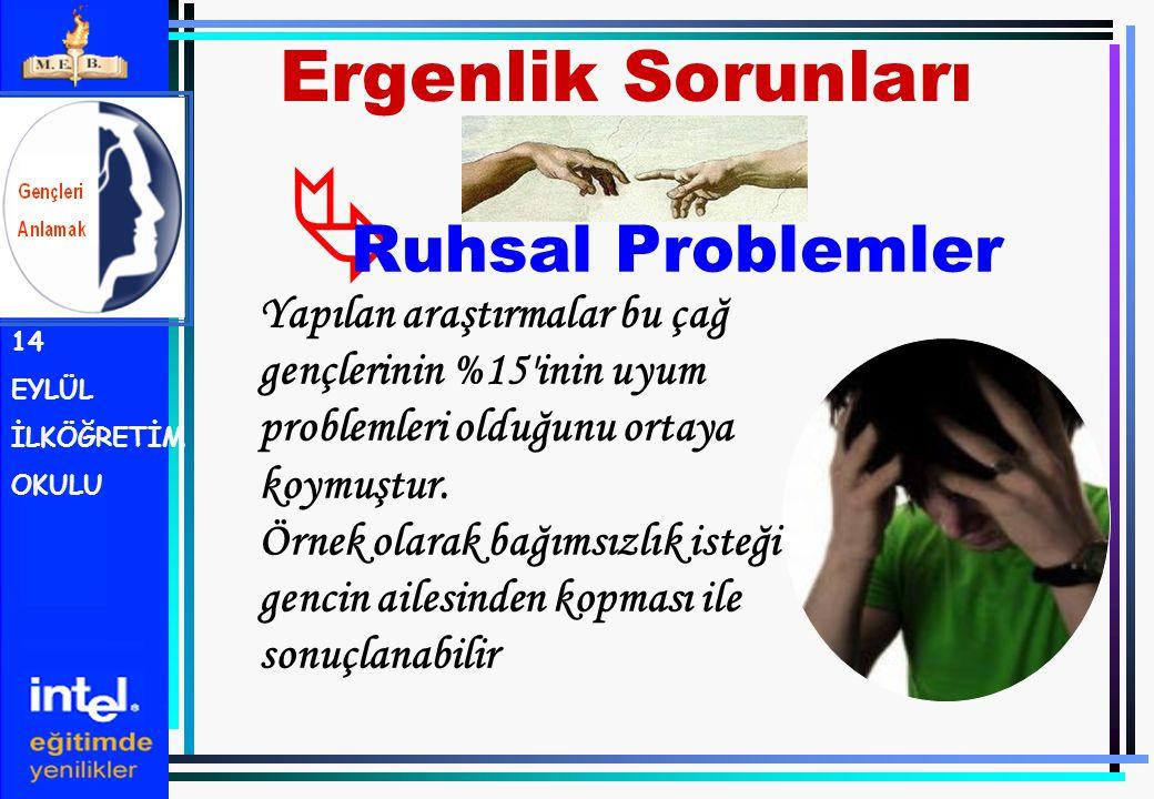  Ruhsal Problemler Ergenlik Sorunları 14 EYLÜL İLKÖĞRETİM OKULU Yapılan araştırmalar bu çağ gençlerinin %15'inin uyum problemleri olduğunu ortaya koy