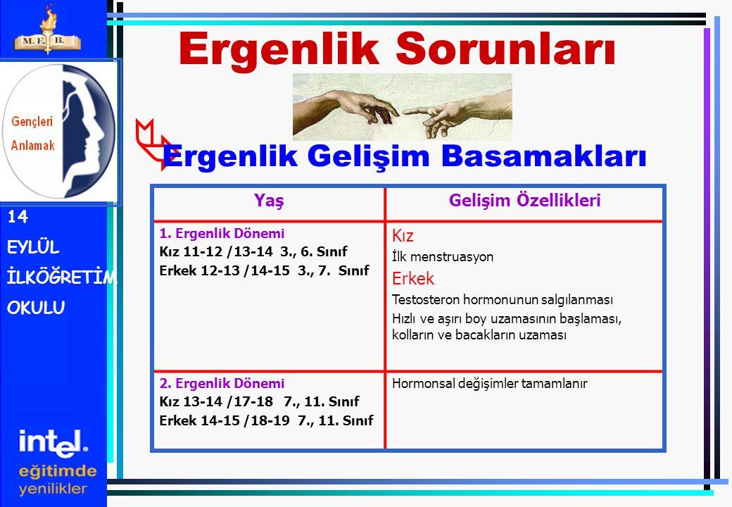  Ergenlik Gelişim Basamakları Ergenlik Sorunları 14 EYLÜL İLKÖĞRETİM OKULU YaşGelişim Özellikleri 1. Ergenlik Dönemi Kız 11-12 /13-14 3., 6. Sınıf Er