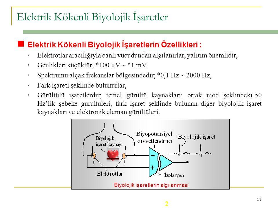 10 u İşaret : Bilgi taşıyan, zamana göre değişen veya değişmeyen büyüklüklerdir. u Biyolojik İşaret : Canlı vücudundan elektrotlar veya dönüştürücüler