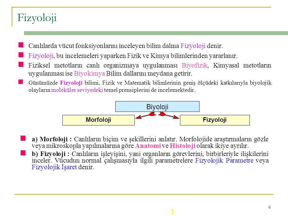 6 Fizyoloji Canlılarda vücut fonksiyonlarını inceleyen bilim dalına Fizyoloji denir.