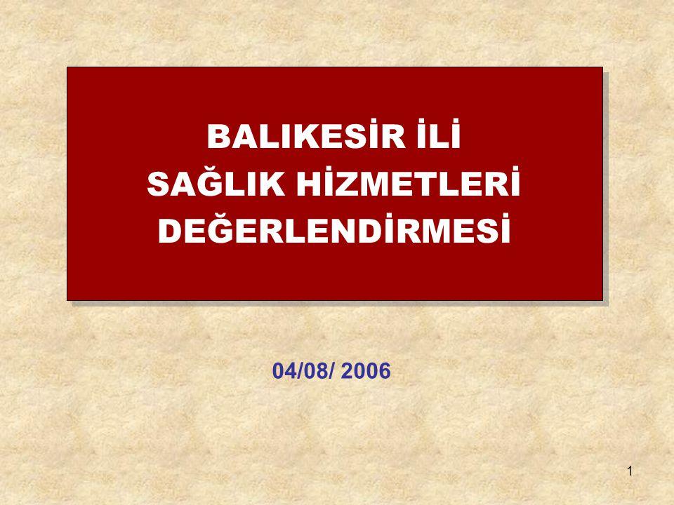 1 BALIKESİR İLİ SAĞLIK HİZMETLERİ DEĞERLENDİRMESİ 04/08/ 2006