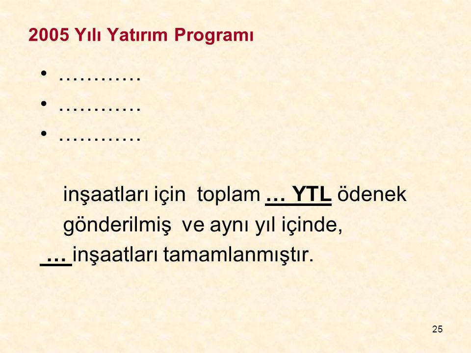 25 2005 Yılı Yatırım Programı ………… inşaatları için toplam … YTL ödenek gönderilmiş ve aynı yıl içinde, … inşaatları tamamlanmıştır.