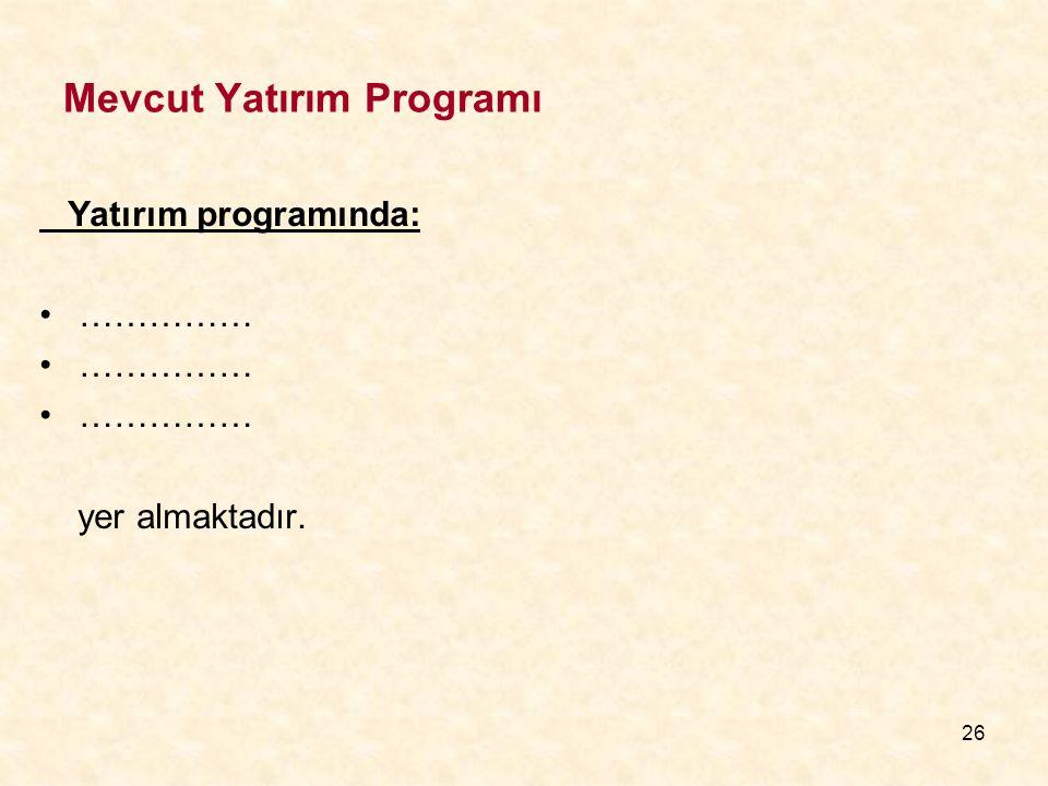 26 Mevcut Yatırım Programı Yatırım programında: …………… yer almaktadır.