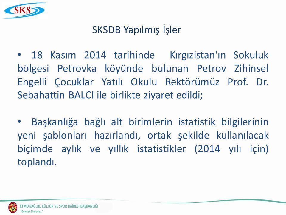 SKSDB Yapılmış İşler 18 Kasım 2014 tarihinde Kırgızistan ın Sokuluk bölgesi Petrovka köyünde bulunan Petrov Zihinsel Engelli Çocuklar Yatılı Okulu Rektörümüz Prof.