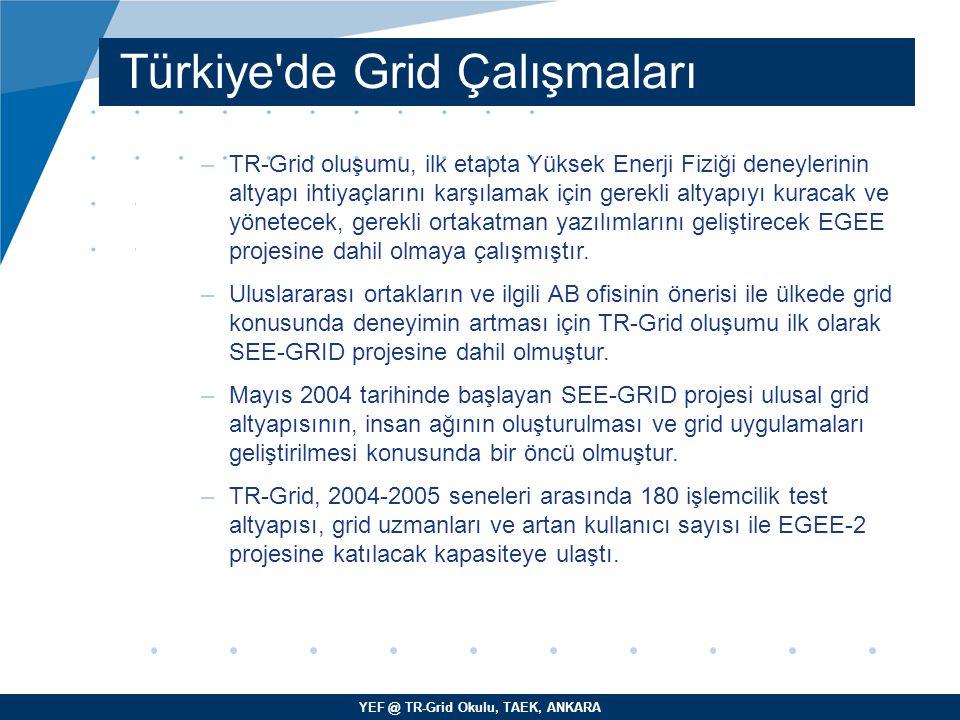 YEF @ TR-Grid Okulu, TAEK, ANKARA Türkiye'de Grid Çalışmaları –TR-Grid oluşumu, ilk etapta Yüksek Enerji Fiziği deneylerinin altyapı ihtiyaçlarını kar