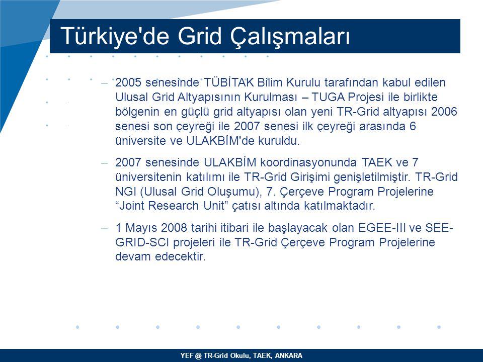 YEF @ TR-Grid Okulu, TAEK, ANKARA Türkiye'de Grid Çalışmaları –2005 senesinde TÜBİTAK Bilim Kurulu tarafından kabul edilen Ulusal Grid Altyapısının Ku