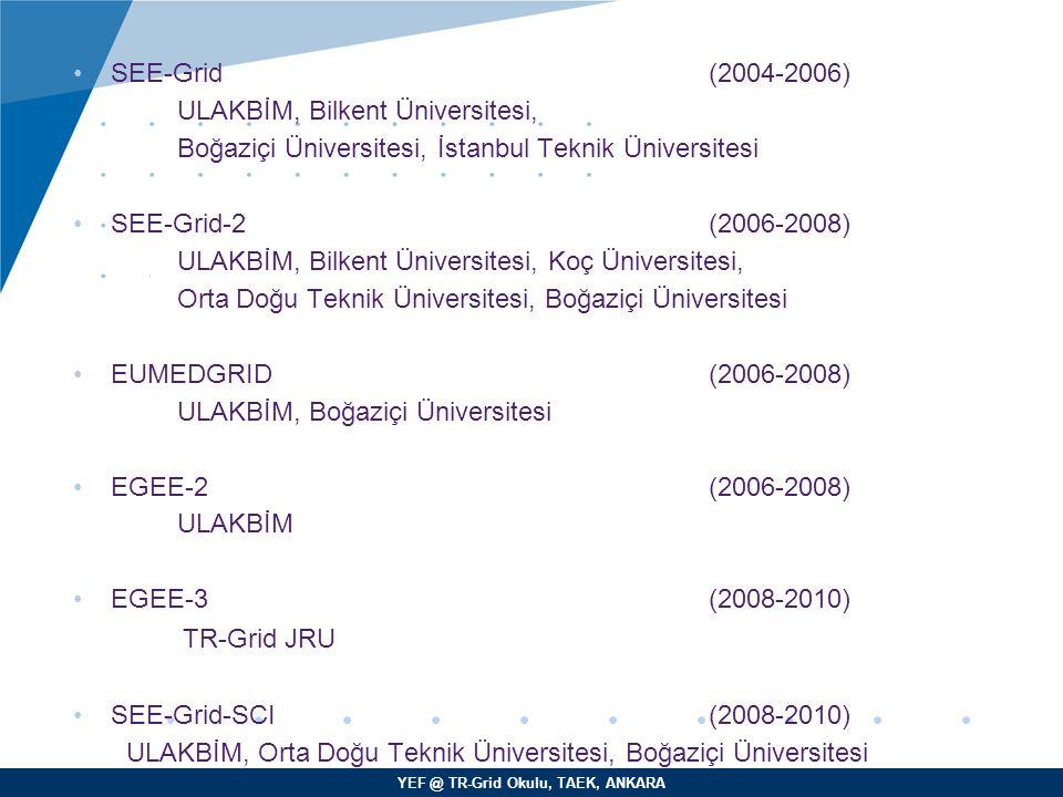 YEF @ TR-Grid Okulu, TAEK, ANKARA SEE-Grid (2004-2006) ULAKBİM, Bilkent Üniversitesi, Boğaziçi Üniversitesi, İstanbul Teknik Üniversitesi SEE-Grid-2