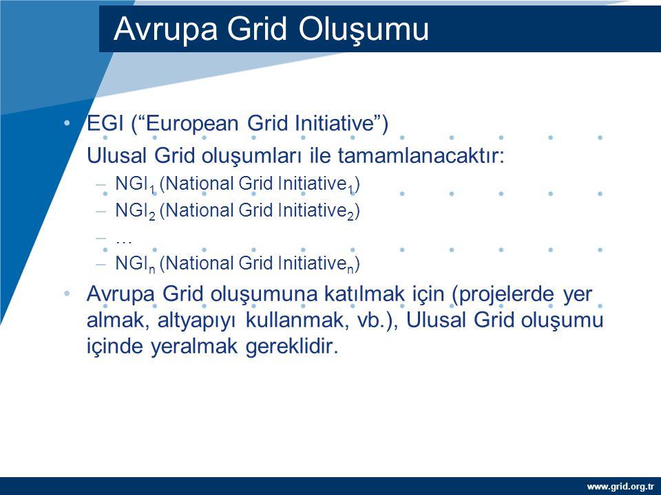 """www.grid.org.tr EGI (""""European Grid Initiative"""") Ulusal Grid oluşumları ile tamamlanacaktır: –NGI 1 (National Grid Initiative 1 ) –NGI 2 (National G"""