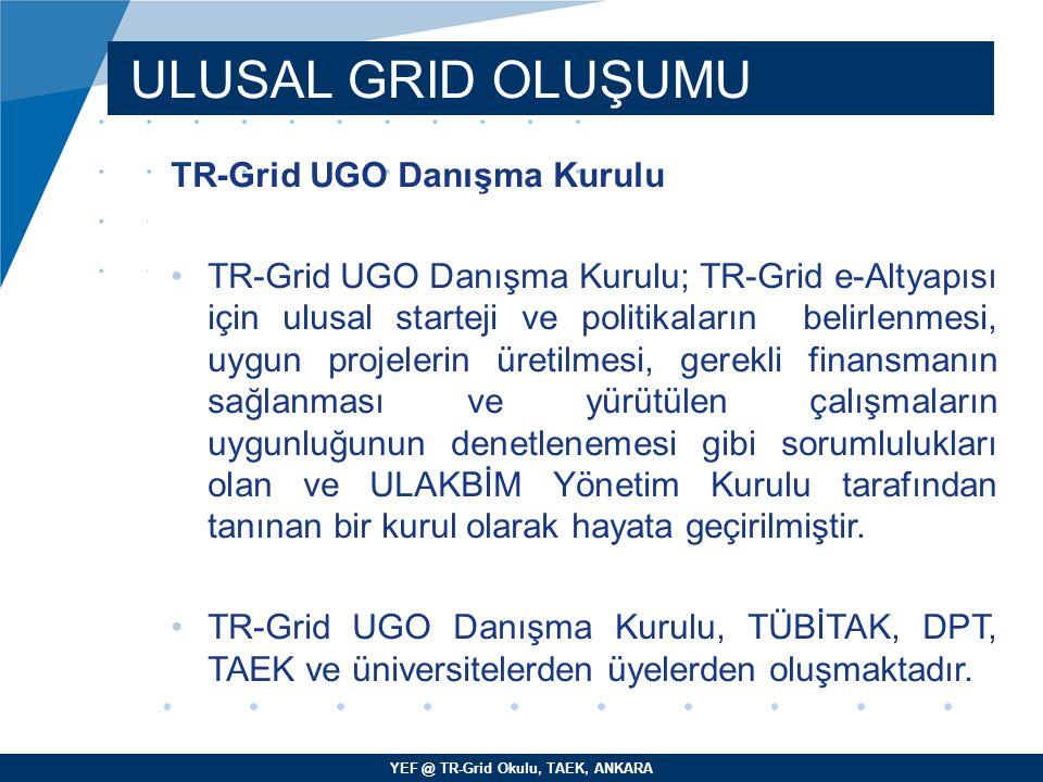 YEF @ TR-Grid Okulu, TAEK, ANKARA ULUSAL GRID OLUŞUMU TR-Grid UGO Danışma Kurulu TR-Grid UGO Danışma Kurulu; TR-Grid e-Altyapısı için ulusal starteji