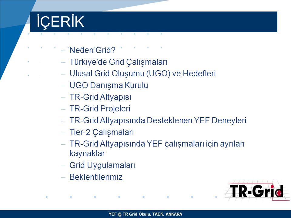 YEF @ TR-Grid Okulu, TAEK, ANKARA Türkiye de Grid Çalışmaları –2005 senesinde TÜBİTAK Bilim Kurulu tarafından kabul edilen Ulusal Grid Altyapısının Kurulması – TUGA Projesi ile birlikte bölgenin en güçlü grid altyapısı olan yeni TR-Grid altyapısı 2006 senesi son çeyreği ile 2007 senesi ilk çeyreği arasında 6 üniversite ve ULAKBİM de kuruldu.