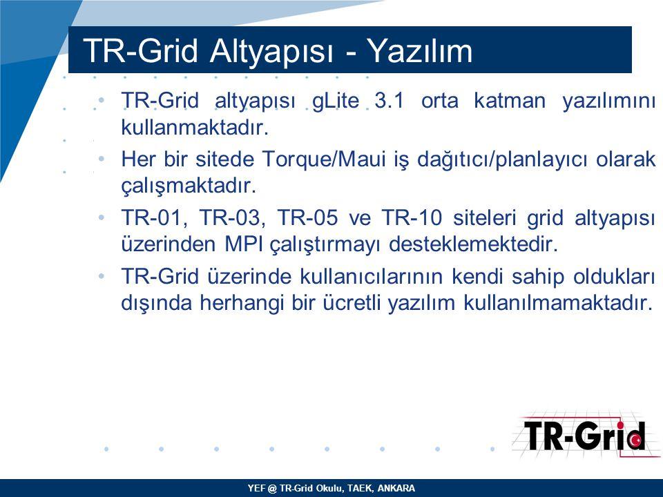 YEF @ TR-Grid Okulu, TAEK, ANKARA TR-Grid Altyapısı - Yazılım TR-Grid altyapısı gLite 3.1 orta katman yazılımını kullanmaktadır. Her bir sitede Torque