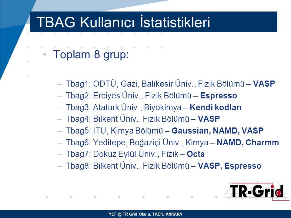 YEF @ TR-Grid Okulu, TAEK, ANKARA TBAG Kullanıcı İstatistikleri Toplam 8 grup: –Tbag1: ODTÜ, Gazi, Balıkesir Üniv., Fizik Bölümü – VASP –Tbag2: Erciye