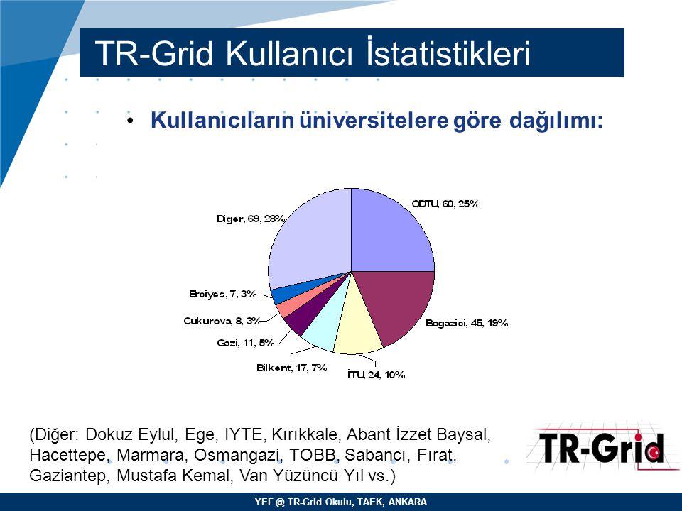YEF @ TR-Grid Okulu, TAEK, ANKARA TR-Grid Kullanıcı İstatistikleri Kullanıcıların üniversitelere göre dağılımı: (Diğer: Dokuz Eylul, Ege, IYTE, Kırıkk