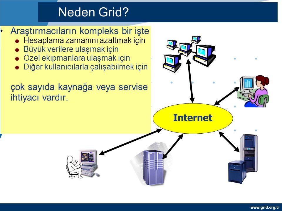 www.grid.org.tr Araştırmacıların kompleks bir işte Hesaplama zamanını azaltmak için Büyük verilere ulaşmak için Özel ekipmanlara ulaşmak için Diğer ku