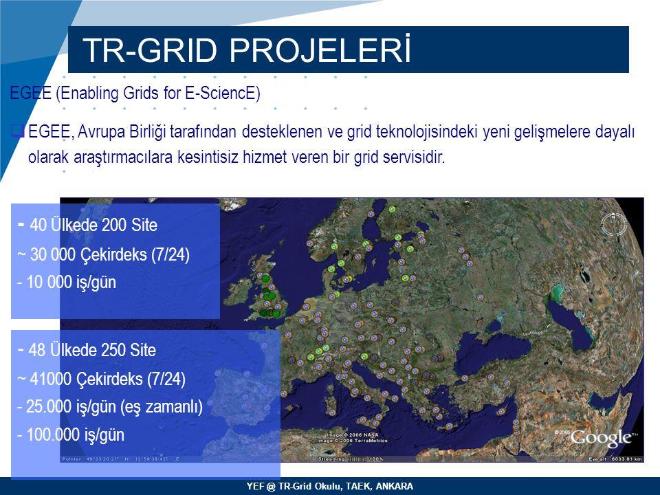 YEF @ TR-Grid Okulu, TAEK, ANKARA TR-GRID PROJELERİ EGEE (Enabling Grids for E-SciencE)   EGEE, Avrupa Birliği tarafından desteklenen ve grid teknol