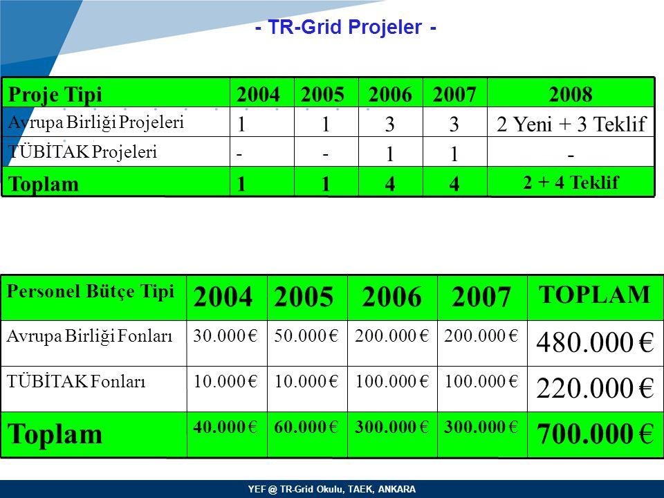 YEF @ TR-Grid Okulu, TAEK, ANKARA - TR-Grid Projeler - Yrd. Doç. Dr. Erol Şahin Orta Doğu Teknik Üniversitesi Bilgisayar Mühendisliği 4 1 3 2007 2 + 4