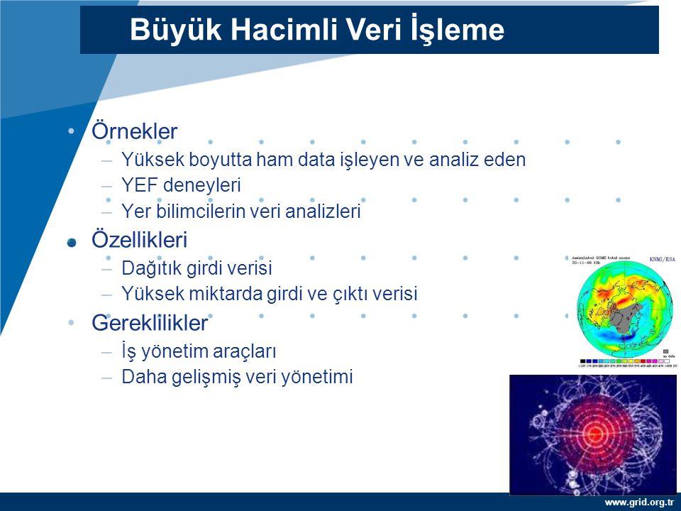 www.grid.org.tr Örnekler –Yüksek boyutta ham data işleyen ve analiz eden –YEF deneyleri –Yer bilimcilerin veri analizleri Özellikleri –Dağıtık girdi v