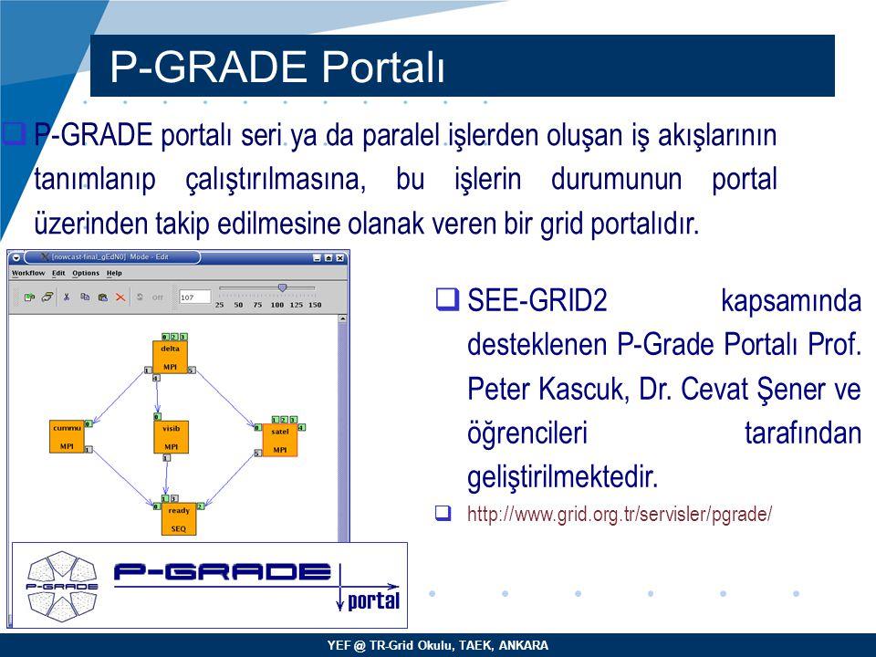 YEF @ TR-Grid Okulu, TAEK, ANKARA P-GRADE Portalı  P-GRADE portalı seri ya da paralel işlerden oluşan iş akışlarının tanımlanıp çalıştırılmasına, bu