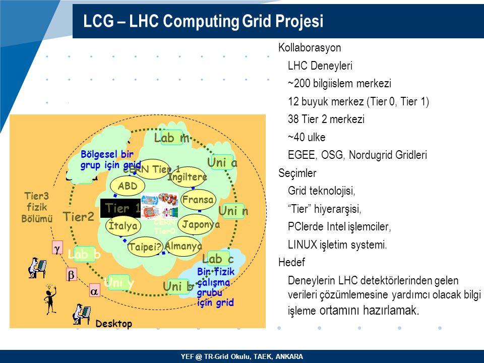 YEF @ TR-Grid Okulu, TAEK, ANKARA Kollaborasyon LHC Deneyleri ~200 bilgiislem merkezi 12 buyuk merkez (Tier 0, Tier 1)  38 Tier 2 merkezi ~40 ulke EG