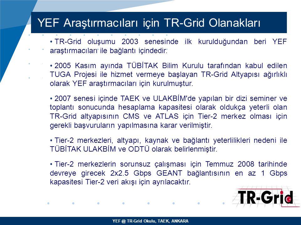 YEF @ TR-Grid Okulu, TAEK, ANKARA YEF Araştırmacıları için TR-Grid Olanakları TR-Grid oluşumu 2003 senesinde ilk kurulduğundan beri YEF araştırmacılar