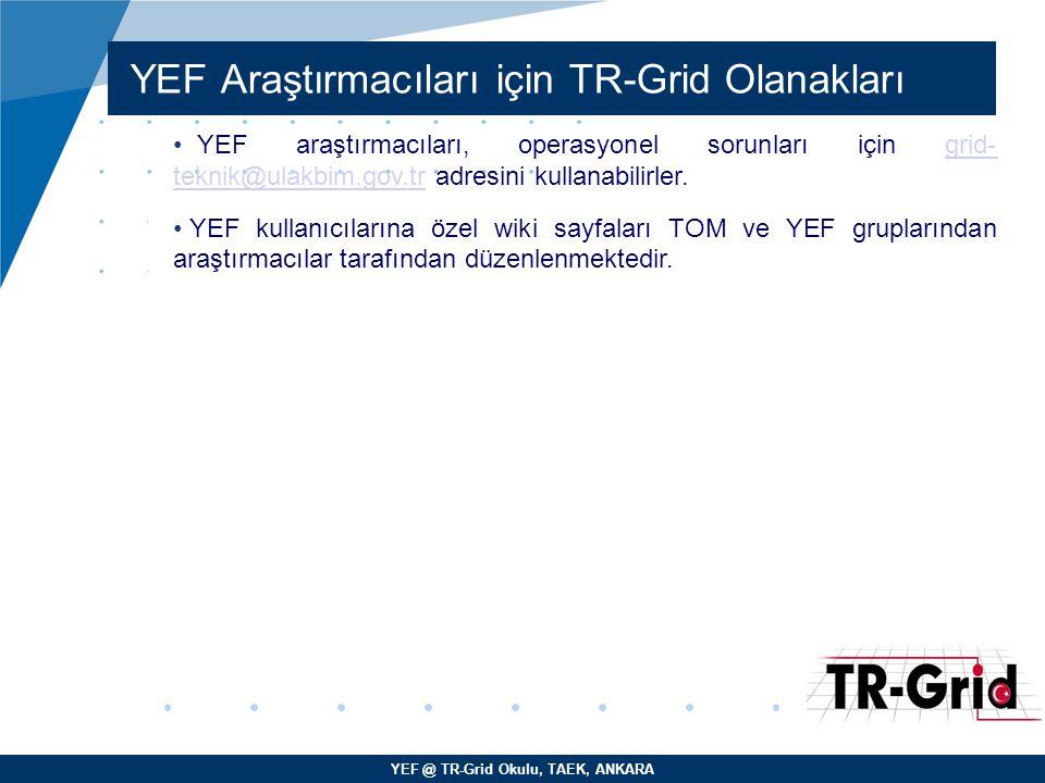 YEF @ TR-Grid Okulu, TAEK, ANKARA YEF Araştırmacıları için TR-Grid Olanakları YEF araştırmacıları, operasyonel sorunları için grid- teknik@ulakbim.gov