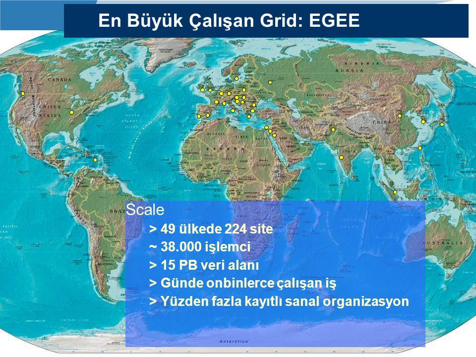 www.grid.org.tr Scale > 49 ülkede 224 site ~ 38.000 işlemci > 15 PB veri alanı > Günde onbinlerce çalışan iş > Yüzden fazla kayıtlı sanal organizasyon